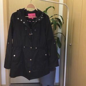 Betsy Johnson Black Rain Trench Coat